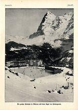 Schweiz Spotrtleben Bobbahn Die große Eisbahn in Mürren mit dem Eiger im...1913