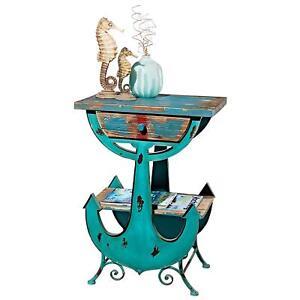 FU80833 - Anchors Aweigh Vintage Coastal Side Table - Beach-Lovers Shabby Chic!