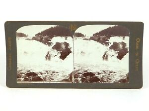 """Canadian Scenery Stereoview """"Chicoutimi Falls, Saguenay."""" Nerlich & Co ©1905"""