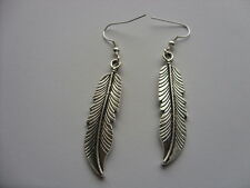 Long Tibetan Silver Native American Indian Tribe Feather Leaves 45*10mm Earrings