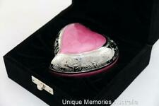 "3"" Solid Brass Pink Heart Cremation Funeral Memorial Keepsake Ash Urn + Case NIB"