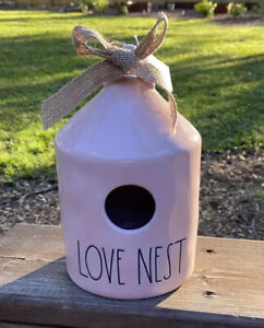 Rae Dunn Pink LOVE NEST Birdhouse Round With Nest On Back Valentines Spring 2021