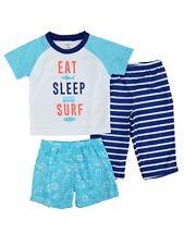 Carters Infant & Toddler Boys 3 Piece Eat Sleep Surf Sleepwear Pajama Set 4T