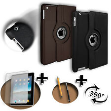 360º FUNDA PREMIUM CUERO Apple iPad 2 3 4 AIR MINI PRO +PEN +PROTECTOR - CARCASA