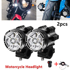 2x LED Motorcycle Headlight Fog Spot Light Auxiliary Lamps+Wire Harness & Switch
