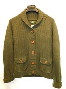 Eddie Bauer XL NEW Green Cardigan Sweater Jacket Cotton Angora Button Pockets XL
