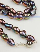 "Shinning 18"" Genuine Freshwater Black Pearl Necklace | FJUS"