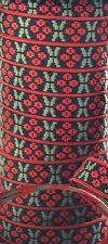 Scandinavian Folk Art Ribbon Lingonberry Swedish Hand Woven Per Yard