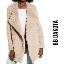 Bb Dakota Women's Faux Fur Textured Draped Jacket NWT $138 Tan Small