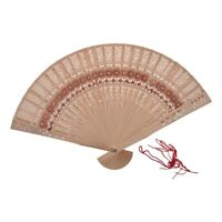 3X(Folding Wooden Carved Sunflower Print Fragrant Hand Fan Y2M3)