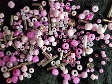 30g Pack Mixed Size Glass Seed Beads & Bugle Beads Pink & Silver Mix
