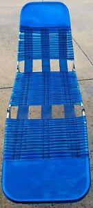Vintage Folding Lawn Lounge Blue Chair Beach Deck Pool Vinyl Tube Plastic