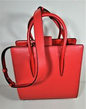 Louboutin PALOMA Small Red Leather Tote Shoulder Bag Purse Gold Spi NEW