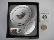 RARE WEDGWOOD PETER RABBIT BONE CHINA MINIATURE TINY TRIO CUP SAUCER PLATE BOXED