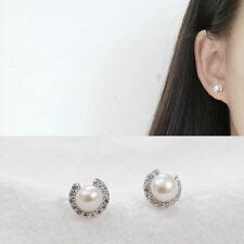 Damen Ohrstecker Mond Süßwasserperle echt Sterling Silber 925 Zirkonia Ohrringe
