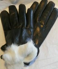 Mens Premium White Rabbit Fur Lined Genuine soft  Lambskin Leather Gloves