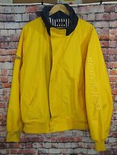 Nautica N-SS Spellout Boating Sailing Jacket Mens XL Yellow Navy Windbreaker VTG