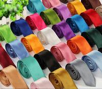 New Classic Satin Slim Wedding Skinny Mens Plain Necktie tie Thin Solid Color AU