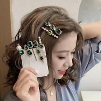 Womens Crystal Pearl Hair Clip Hairpin Barrette Stick Pin Accessories Bobby C7Z8