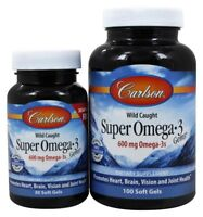 Carlson Labs Super Omega-3 Gems Fish Oil Concentrate 600 mg Bonus Pack 100+30 Sg