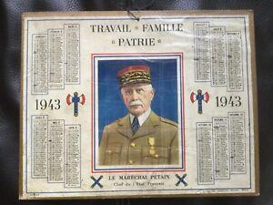 Calendrier «Le Maréchal Pétain Chef de l'Etat Français» 1943