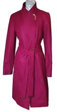 Ted Baker Ellgenc Oxblood Long Belted Wrap Coat RRP £339 Size 14 Deep Pink