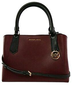 Michael Kors Kimberly Top Handle Satchel Bag Merlot Dark Red & Black Medium