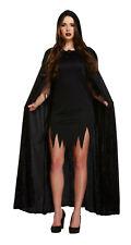 Unisex Long Velvet Black Hooded Cloak Cape Deluxe Vampire Halloween Fancy Dress