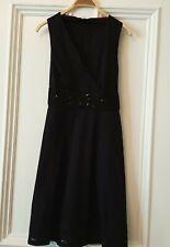 JOHN ROCHA PRETTY BLACK BEADED EMBROIDERED COTTON DRESS/ PINAFORE Sz 14 petite