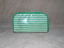 Bare Escentuals GREEN STRIPED Plastic Coated Top Zipper Cosmetic Makeup Bag New