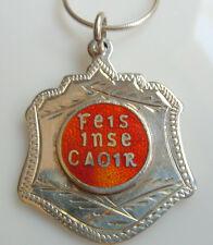 Vintage Irish Sterling Silver & Red Enamel Feis Inse Choir (Caoir)Etched Medal