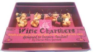 Pack of 4 Wine Charmers The Stomp Italian Men Carrie Olsen Garrard Handpainted