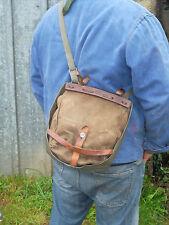 RARE Musette / sac armée Suisse en cuir, sky et coton vintage
