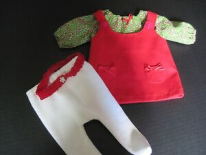 Red Jumper, Green Candy Cane Top Tights and Hair Band for Bitty Baby ; Handmade