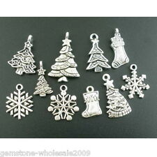 W09 40Pcs Mixed Silver Tone Christmas Motif Charms Pendants