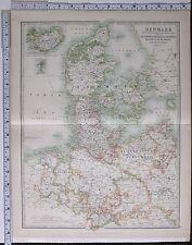 1915 LARGE MAP DENMARK ZEALAND COPENHAGEN SCHLESWIG HOLSTEIN HANOVER BRUNSWICK