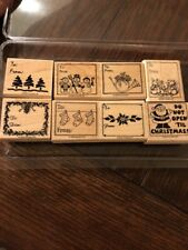 Stampin Up Christmas Gift Tags Rubber Stamp Set, 1998 Set Of 8