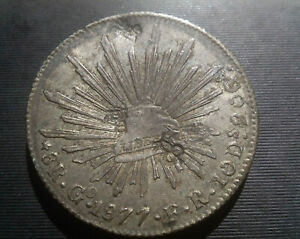 N787 Mexican silver 8 real coin with Chinese trader chop marks, 1877  KM 377.8