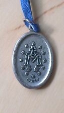 "RELIGIOUS MARY MEDAL ~ SILVER COLOURED MEDAL ON BLUE RIBBON ~ ""ITALY"" ON REVERSE"