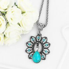 "PEACOCK Necklace w/ Turquoise Blue Rhinestones 1-3/8"" x 1-1/4"" with 18-20"" Chain"