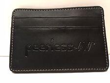 Vintage!!  Peerless AV Embossed Genuine Black Leather Business Card Holder FS