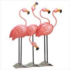 Garden Decor Flock Of Flamingos Metal Statues Yard Art