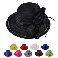 Women Lady Kentucky Derby Church Bridal Wedding Hat Wide Brim Dress Hat