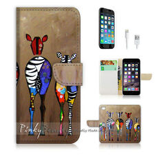 ( For iPhone 7 ) Wallet Case Cover P0049 Abstract Zebra