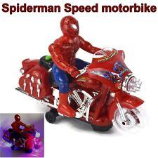 "10"" Amazing Spiderman Speed Motorbike Bike Figure Light Sound RC Boy Kids Gift"