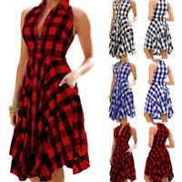 Fashion Women Sleeveless Plaid Dess Vintage Dress Summer Knee-length Party D TRF