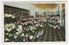 Florist Shop Edgewater Hotel Chicago IL 1943 postcard