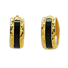 14K Yellow Gold Onyx Huggie Earrings