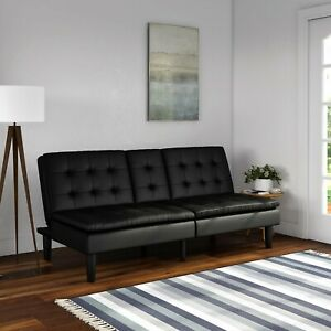 Mainstays Memory Foam Black Faux Leather Pillowtop Futon with Cupholder