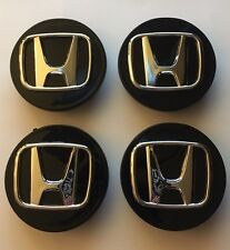 4 x HONDA Black & Chrome 68mm Wheel Cap Civic CRV Accord Pilot Acura Odyssey